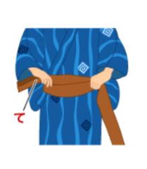 男結び(角帯結び):手順2