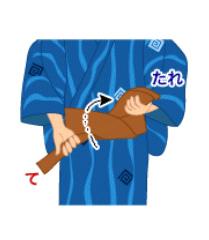 男結び(角帯結び):手順5